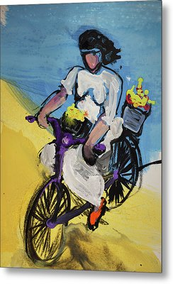 Bicycle Riding With Baskets Of Flowers Metal Print