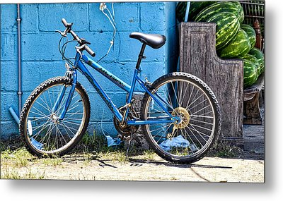 Bicycle With Watermelons Metal Print by Linda Brown