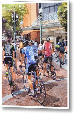 Bicycles On Broadway Metal Print by Mike Hill
