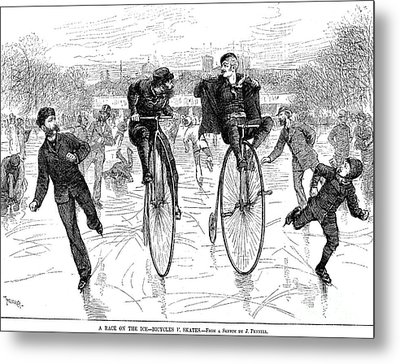 Bicycles On Ice, 1881 Metal Print by Granger