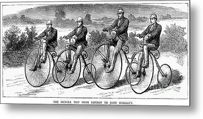 Bicycling, 1873 Metal Print by Granger