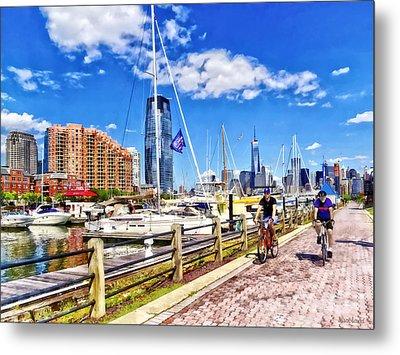 Bicycling Along Liberty Landing Marina Metal Print by Susan Savad