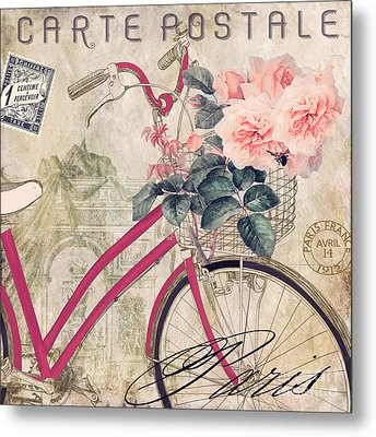 Bicycling In Paris II Metal Print by Mindy Sommers