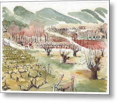 Bicycling Through Vineyards Metal Print by Tilly Strauss