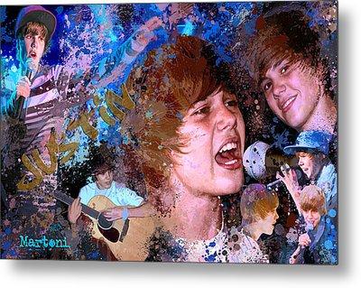 Bieber Fever Tribute To Justin Bieber Metal Print by Alex Martoni