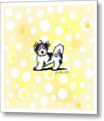 Biewer Terrier Banana Cream Metal Print by Kim Niles