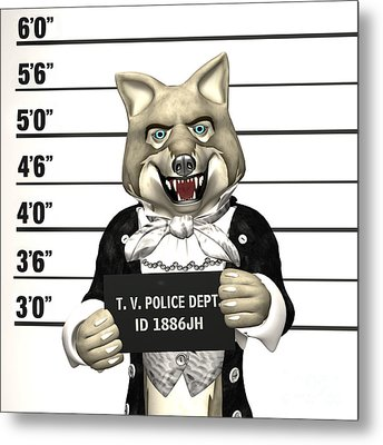 Metal Print featuring the digital art Big Bad Wolf Mugshot by Methune Hively