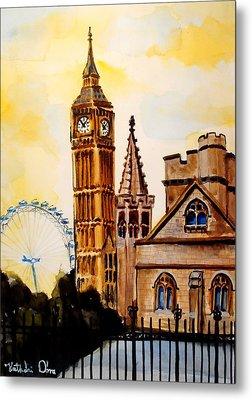 Big Ben And London Eye - Art By Dora Hathazi Mendes Metal Print by Dora Hathazi Mendes