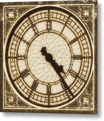 Metal Print featuring the photograph Big Ben Clock Color By Numbers 20161115 Sepia by Wingsdomain Art and Photography