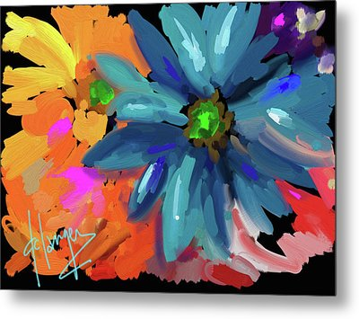Big Blue Flower Metal Print by DC Langer