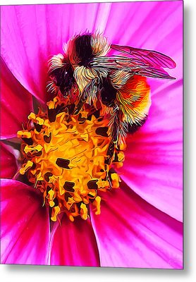 Big Bumble On Pink Metal Print