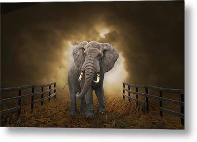 Metal Print featuring the mixed media Big Entrance Elephant Art by Marvin Blaine