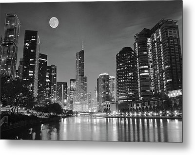 Big Full Chicago Moon  Metal Print by Frozen in Time Fine Art Photography