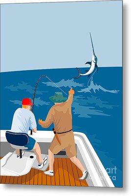 Big Game Fishing Blue Marlin Metal Print by Aloysius Patrimonio