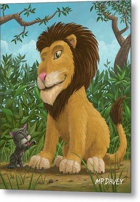 Big Lion Small Cat Metal Print by Martin Davey