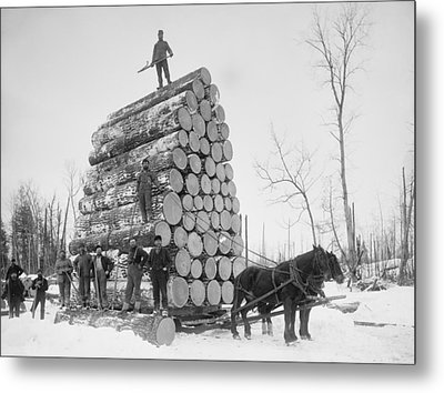 Big Load Of Logs On A Horse Drawn Sled Metal Print