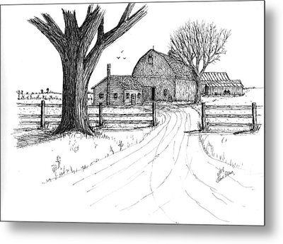 Metal Print featuring the drawing Big Oak Dairy Farm by Jack G  Brauer