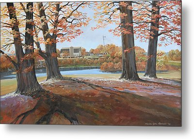 Big Oaks In Fall Metal Print by Werner Pipkorn