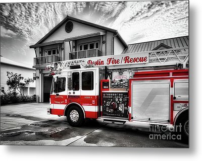 Metal Print featuring the photograph Big Red Fire Truck by Mel Steinhauer