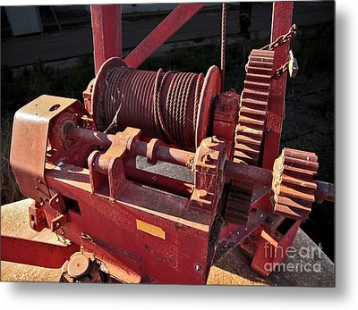 Metal Print featuring the photograph Big Red Winch by Stephen Mitchell