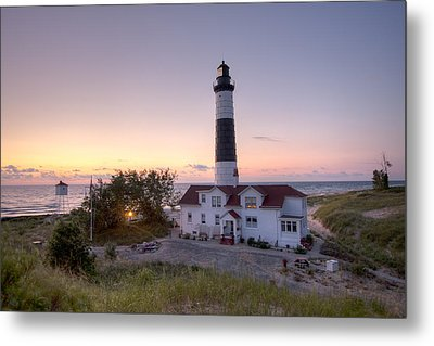 Big Sable Point Lighthouse At Sunset Metal Print by Adam Romanowicz