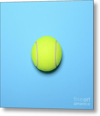 Big Tennis Ball On Blue Background - Trendy Minimal Design Top V Metal Print