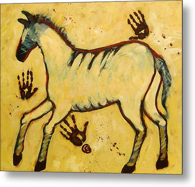 Big Yellow Lascaux Horse Metal Print