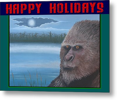 Bigfoot Happy Holidays Metal Print by Stuart Swartz