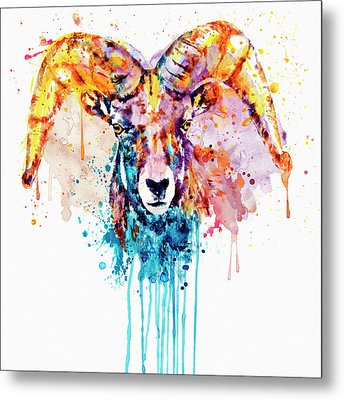 Metal Print featuring the mixed media Bighorn Sheep Portrait by Marian Voicu