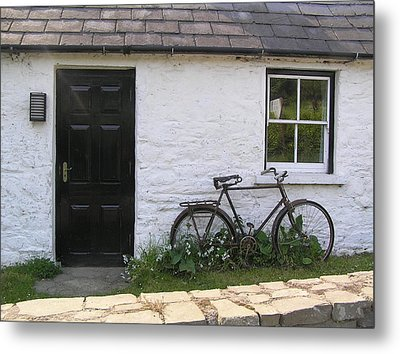 Bike And Irish Cottage Metal Print by Jeanette Oberholtzer