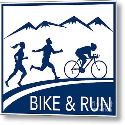 Bike Cycle Run Race Metal Print by Aloysius Patrimonio