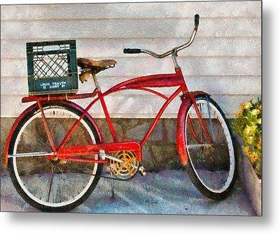 Bike - Delivery Bike Metal Print by Mike Savad