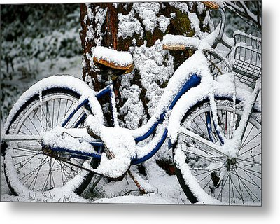 Bike In The Snow Metal Print