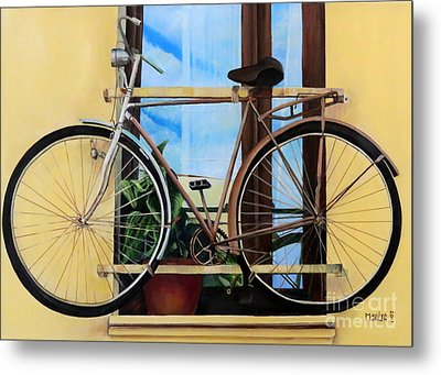 Bike In The Window Metal Print