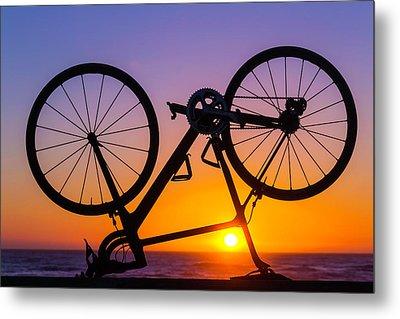 Bike On Seawall Metal Print by Garry Gay