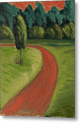 Metal Print featuring the painting Bike Path Through The Greenbelt by Clarence Major