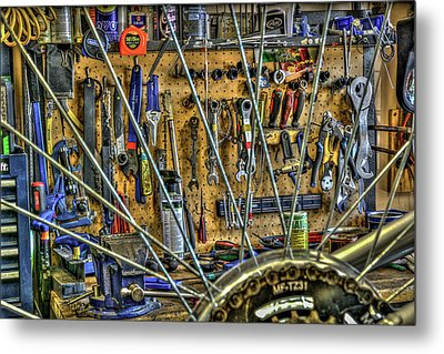 Bike Repair Shop Metal Print by Irwin Seidman