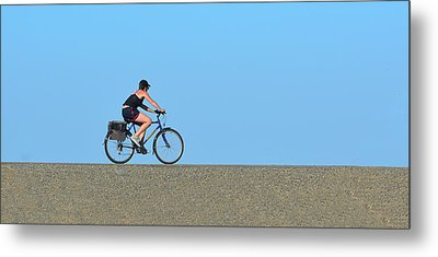 Bike Rider On Levee Metal Print