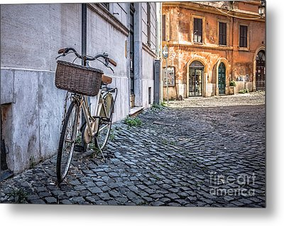 Bike With Basket On Streets Of Rome Metal Print by Edward Fielding