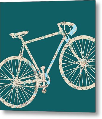 Bike With Philly Map Metal Print by Brandi Fitzgerald