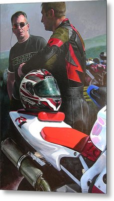 Metal Print featuring the painting Bikers At The Horseshoe Pass by Harry Robertson