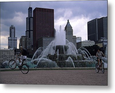 Bikers Tour Around Chicago Metal Print by Stacy Gold