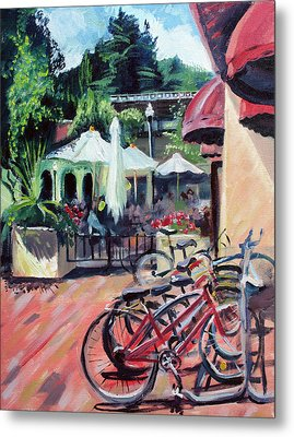 Bikes At The Depot Cafe Metal Print by Colleen Proppe