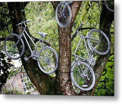 Bikes In A Tree Metal Print