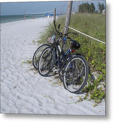 Bikes On The Beach Metal Print by Jeanette Oberholtzer