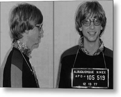 Bill Gates Mug Shot Horizontal Black And White Metal Print by Tony Rubino