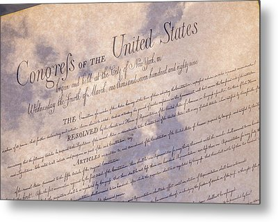 Bill Of Rights With Clouds Metal Print by Jack R Perry