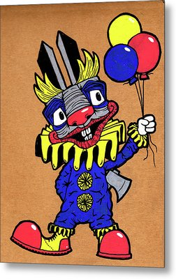 Binky The Bunny Clown Metal Print by Bizarre Bunny