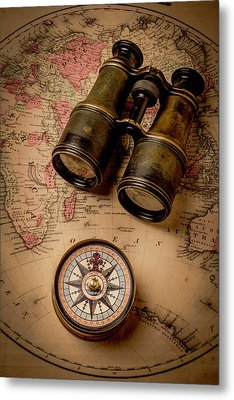 Binoculars And Compass On Map Metal Print by Garry Gay