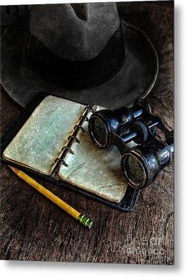 Binoculars Fedora And Notebook Metal Print by Jill Battaglia